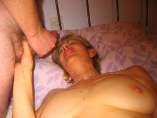 I was wanking over her face whilst she storke my balls and her hubby watched and took pics
