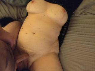 pulled my panties down to tease her clit with my head