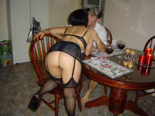 WoW! That is so fucking hot. Make me want to be their fucking you ass like that and drinking some wine. Love the outfit and the beautiul women in the outfit. Your husband is one lucky man to bang you every night. You are a 10