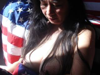 More of the patriotic busty lady.