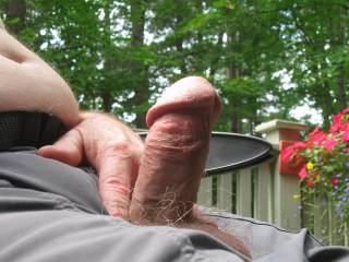 feels so good to be out on the deck with my hard cock out, all ready to jerk off