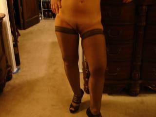 looking good in heels and stockings!