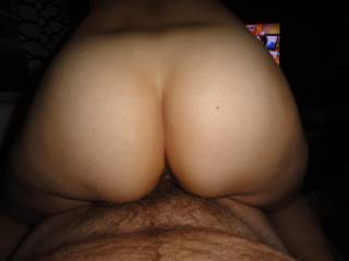 I just love the view of her beautiful ass when she ride my hard cock, what do you think of her ass?