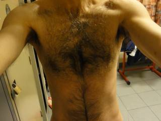 my hairy chest for you, for your shoulder