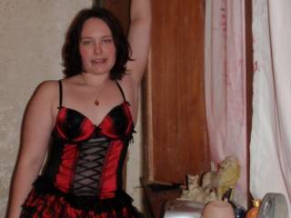 me in my red and black corset