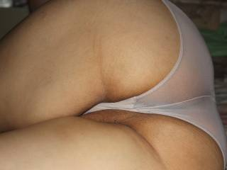 my husband loves my panty shots , especially when my pussy lips are peeking . You guys enjoy that too ?