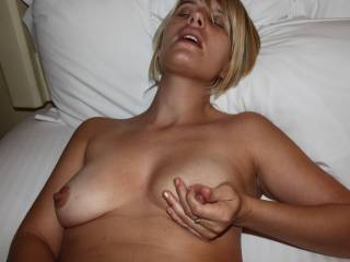 Suck them, kiss them, bite them, lick them, smack them, pinch them, pull them, grip them, hold them, rub them, fuck them. Massage them both all over with my warm stiff cock. Left, right, up and down around in circles til my clear pre cum is gripping from your nipples
