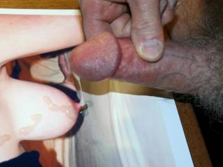 I kept on pumping spurt after spurt on Snoopie\'s beautiful hanging tits.