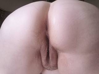 Creamy pussy & ass... Spreading it, so someone can lick & eat out my HORNY, waiting FUCK HOLES!!!
