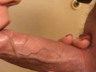 Blowjob from my lady friend Notice the thick throbbing veins