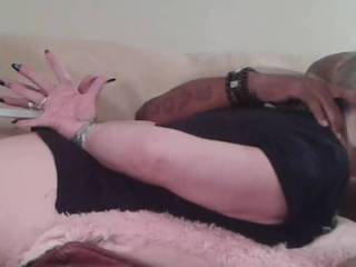 My wife is sucking black cock while hands are taped up behind her back. I love how her shocked open hands look so helpless
