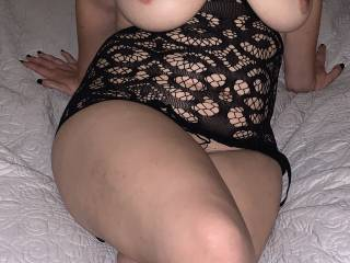 I was teasing hubby at this point, asking him how many guys would want to trade places with him. How many would love to squeeze my tits or lick along my legs? How many guys with bigger cocks would love to show him how to fuck me right?