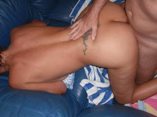 Fucking at home on the lovely soft leather sofa
