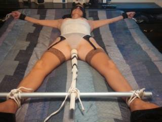 Bedroom bondage.. Left her like this for 45 minutes while I went to the store when I got home she was begging me to turn the wand off...