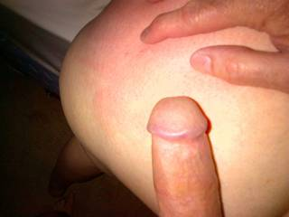 Spanked ass of a local wife.  I met her a year ago & have intrigued her since that 1st kiis after the interview with her husband...  owned her cunt since the first fuck...  He's at times upset but does get to eat my cum from his wife's used pussy