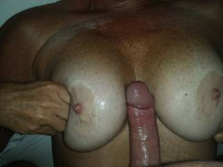 Would love to shoot a huge double load with you on her tits if you think she could handle both our cocks together!?