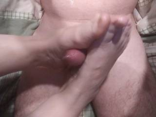My woman is making me cum with her fantastic foot job. The wife knows how to care of his man! Of course, she loves to see him cum all over her sexy feet...