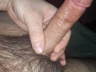 So so horny i was soaked and very shiney slippery wet from leaking pre cum non stop for over 2 hours before i finally drained myseñf from tons pf thicl creamy cum