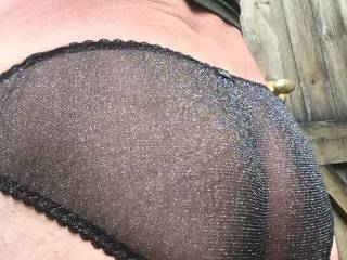 Monday's panties. A sparkly black pair. Sheer with pretty pink ruffles. Love Kimmi x