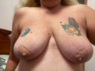 Love Tributes on these big soft tits, Love a good tit fuck and covered in juice. Who wants to lay their dick between them?