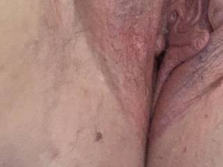 Picture of my used pussy. A friend popped round and dumped a load in my pussy so I played afterwards! Love rubbing cum into my clit x
