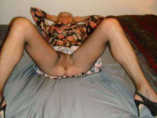 Pearl in her dress, fishnets, new heels and what a beautiful pussy she has