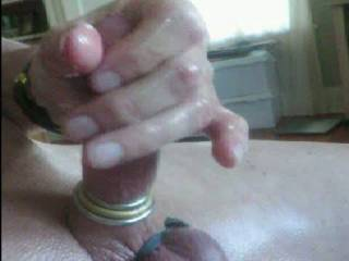 I don\'t know what to say...  rings on my cock, rubbing, getting hard, stroking, getting really hot.