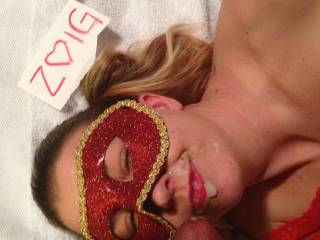 After a great blowjob, she loves taking my by white load on her face.