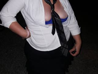 Wife\'s sexy school girl outfit at bike week showing a little more of her sexy bra and tits