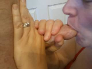 Nothing like cock in your mouth! I love sucking my man's hard thick cock. It worked well as I got my first facial. See my video of me getting that great fun.