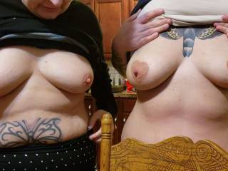 My wife and a friend showing there tits. Who do you prefer.? Comment left or right.. Who ever the winner is I'll post a video of them playing with them.
