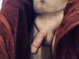 right out of the shower after shaving my cock and balls.