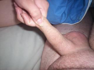 i love it when she pulls so hard on my foreskin