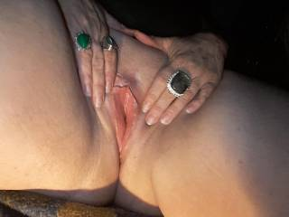 While in the middle of eating me out the guy I was with had to take a picture of my eawet pussy.