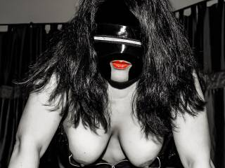Artistic black & white w/ red lips and my big tits!
