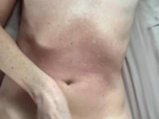 Wife jerks me off onto her pussy. She loves watching me cum on her!