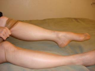 Lindsey posing in tan RHT stockings before a fuck session...