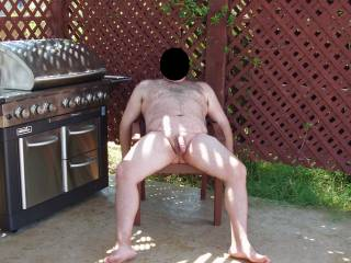 I took away hubby\'s clothes and made him pose in the nude outside by the pool!  The fun part was our female neighbor was in her backyard with her female friends and hubby was very nervous! Hehehe!!!