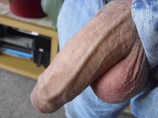 Oooh, uncut, with a nice bulging vein...  Hot cock!