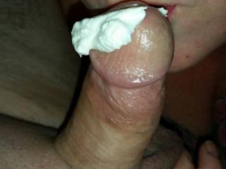 eating whipped cream from hubbys cock