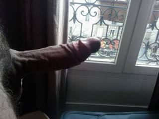 Because she always gets naked in front of the window.. i tease her back...