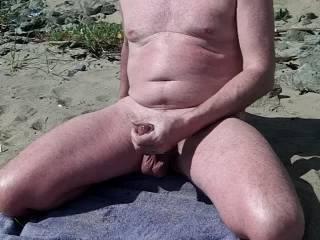 big Scottish cock and balls on the beach
