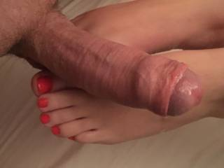 Want me to stroke your throbbing cock woth my feet?