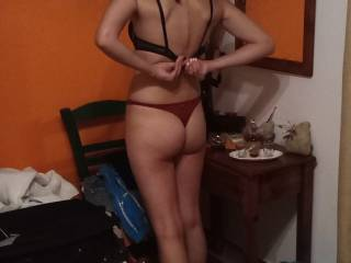 My wife\'s Hot Ass in Red thong!!!