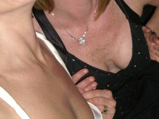 Mrs. CC and her friend presenting their sexy tits!