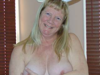 Showing my hard nipples in Easter Bunny outfit