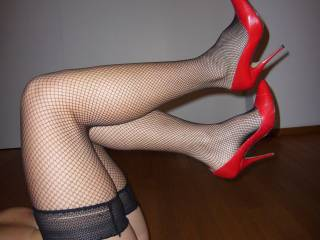 We call it the Dutch-style: black nylons, red shoes. Typical for the Netherlands. We don\'t like it.