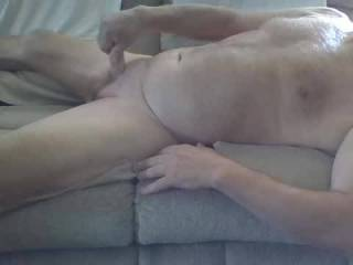 Relaxing on the couch and decided to jack off after enjoying the pics on ZG.