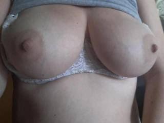 Kiki showing me her big beautiful neglected tits! Should I go over there and make her man sit in the corner and watch as I cover them with cum?