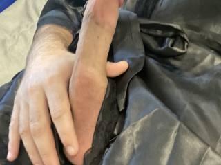 Black satin robe cock
